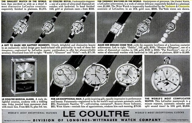1950s Advertisement for Vacheron with prices!